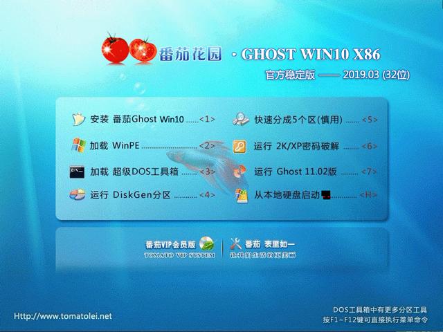 番茄花园 GHOST WIN10 X86 官方稳定版 V2019.03(32位)