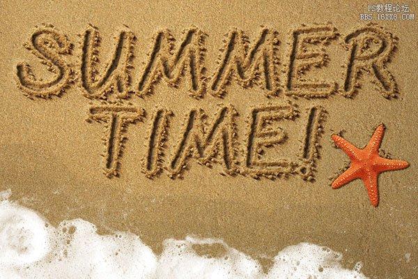 ps做写在沙滩上的文字效果